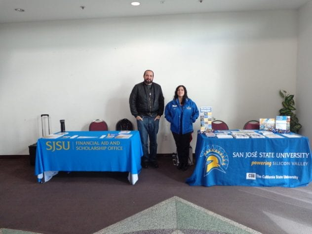 San Jose State University staff members from Student Outreach and Recruitment and the Financial Aid Office attend Super Sunday to talk with community members about preparing for college. Photo provided by Coleeta McElroy.