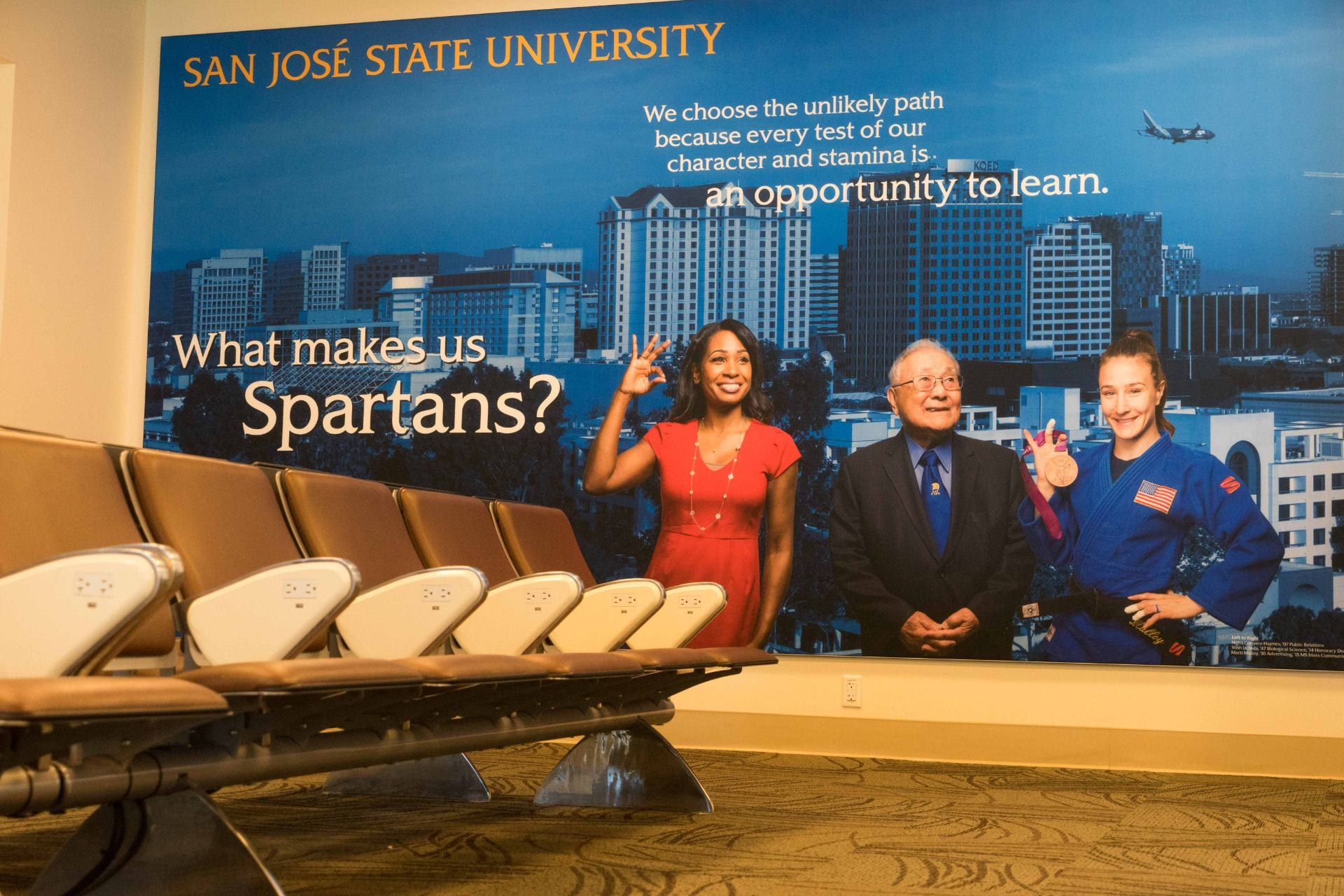 The SJSU power suite in the San Jose International Airport on Friday, July 13, 2018. (Photo: James Tensuan, '15 Journalism)