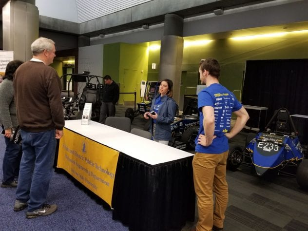 SJSU engineering students talk to visitors at the Silicon Valley Auto Show March 7. Photos courtesy of Charles W. Davidson College of Engineering.