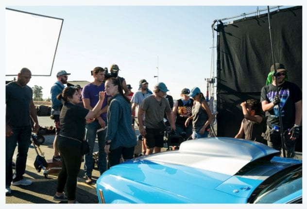 "The film crew for Spartan Film Studios works on a scene from ""American Muscle."""