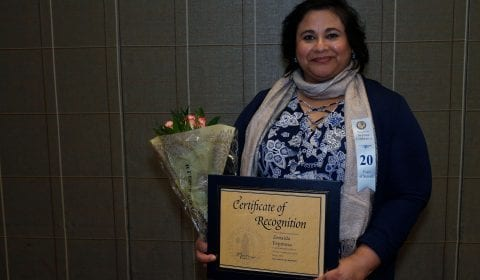 Zenaida Espinosa was honored for 20 years of service. ( Josie Lepe/San Jose State University )