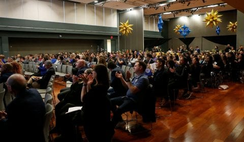Members of the audience clap for honorees during the Spartan Service Celebration. ( Josie Lepe/San Jose State University )