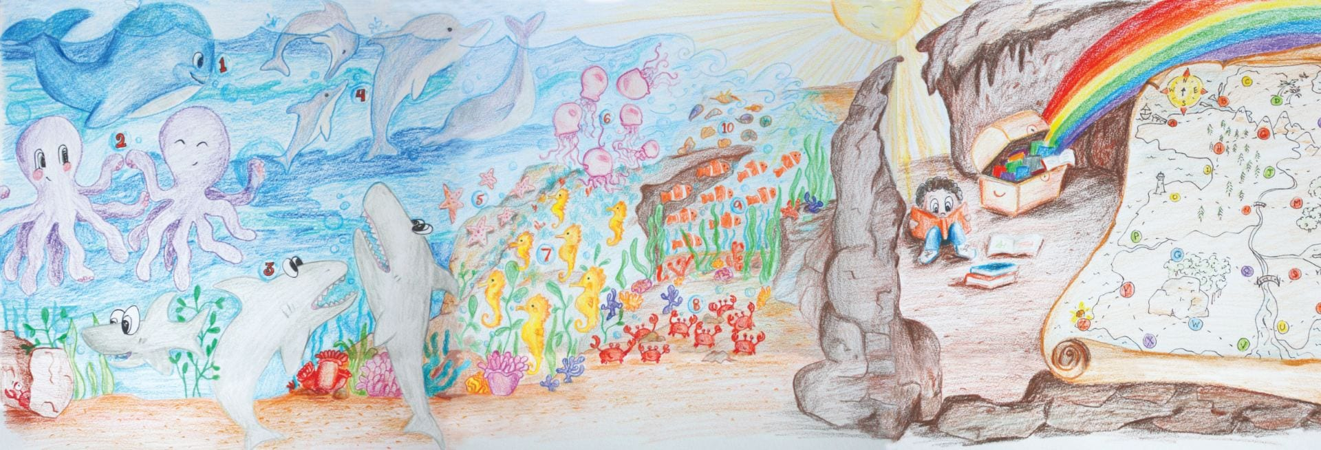 Renae McCollum started with a sketch for her mural project at Valley Health Center Bascom, a primary care clinic of Santa Clara Valley Medical Center: Hospitals and Clinics.