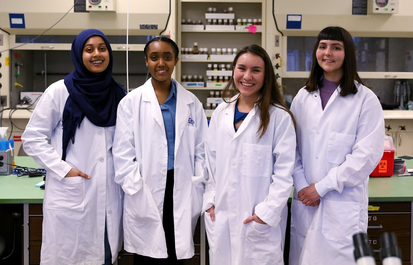 Graduating MARC students (l-r): Nebat Ali, '19 Microbiology, Mulatwa Haile, '19 Biological Sciences, Brianna Urbina, '19 Biological Sciences, and Natanya Villegas, '19 Microbiology. Photo: Roman Goshev.
