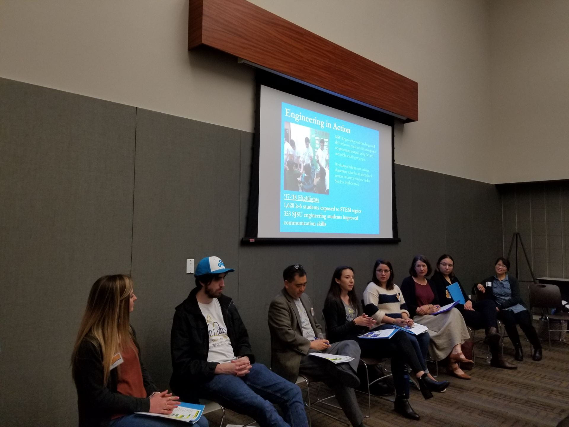 Students and faculty share their experience with service learning projects through CommUniverCity at the Student Success Symposium April 15.