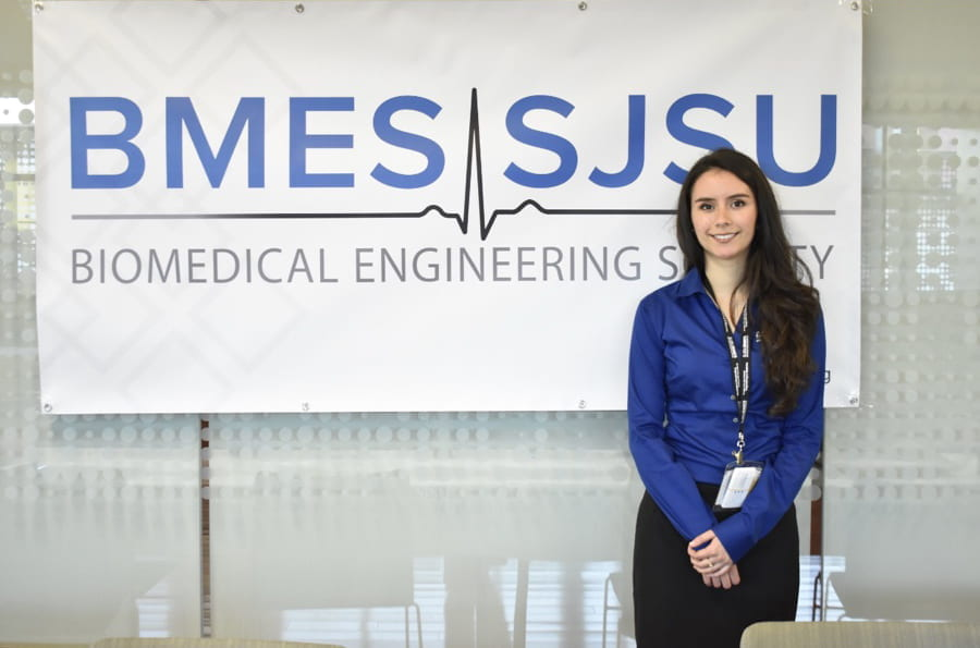 Cassandra Villicana, '19 Biomedical Engineering, poses for a photo at a Biomedical Engineering Society of SJSU event.