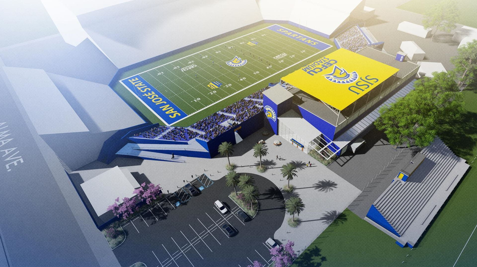 An artist rendering shows the future Football Operations Center.