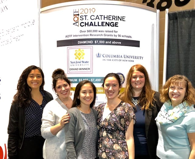 San Jose State Occupational Therapy students and Department Chair Wynn Schultz-Krohn, far right, were honored at the American Occupational Therapy Association Conference for raising the most money as part of the St. Catherine Challenge, which benefits professional research in the field.