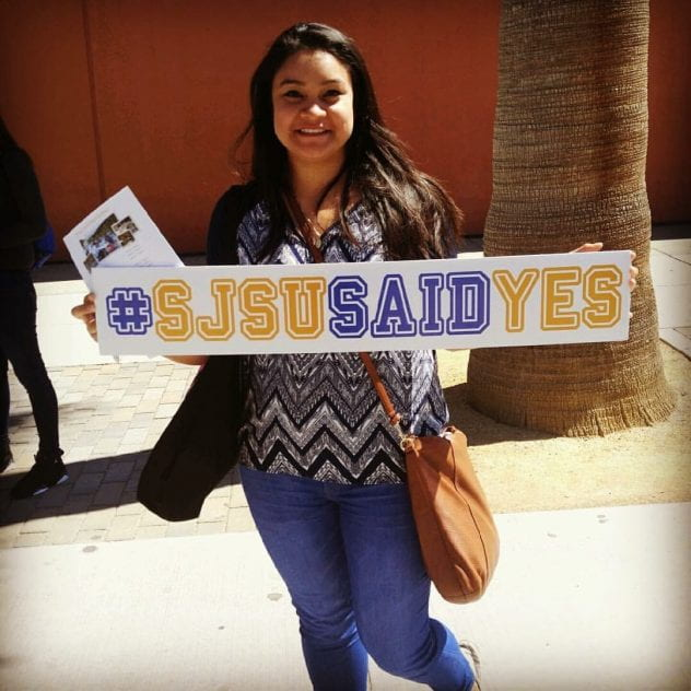 Andrea Coto joined SJSU as a transfer student. Here she poses for a photo on Admitted Spartans Day after she accepted admissions to SJSU.