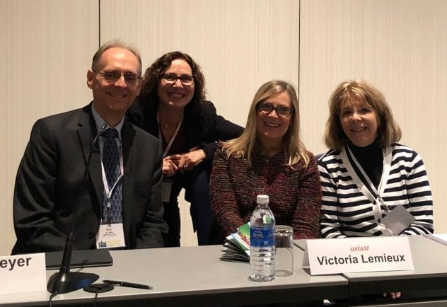 SJSU researchers Dr. Sandy Hirsh, second from the left, and Dr. Sue Alman, far right, served on a panel with colleagues Eric Meyer, of the University of Texas at Austin, and Vicki Lemieux, University of British Columbia, at the Association for Information Science and Technology Conference in Vancouver, Canada.