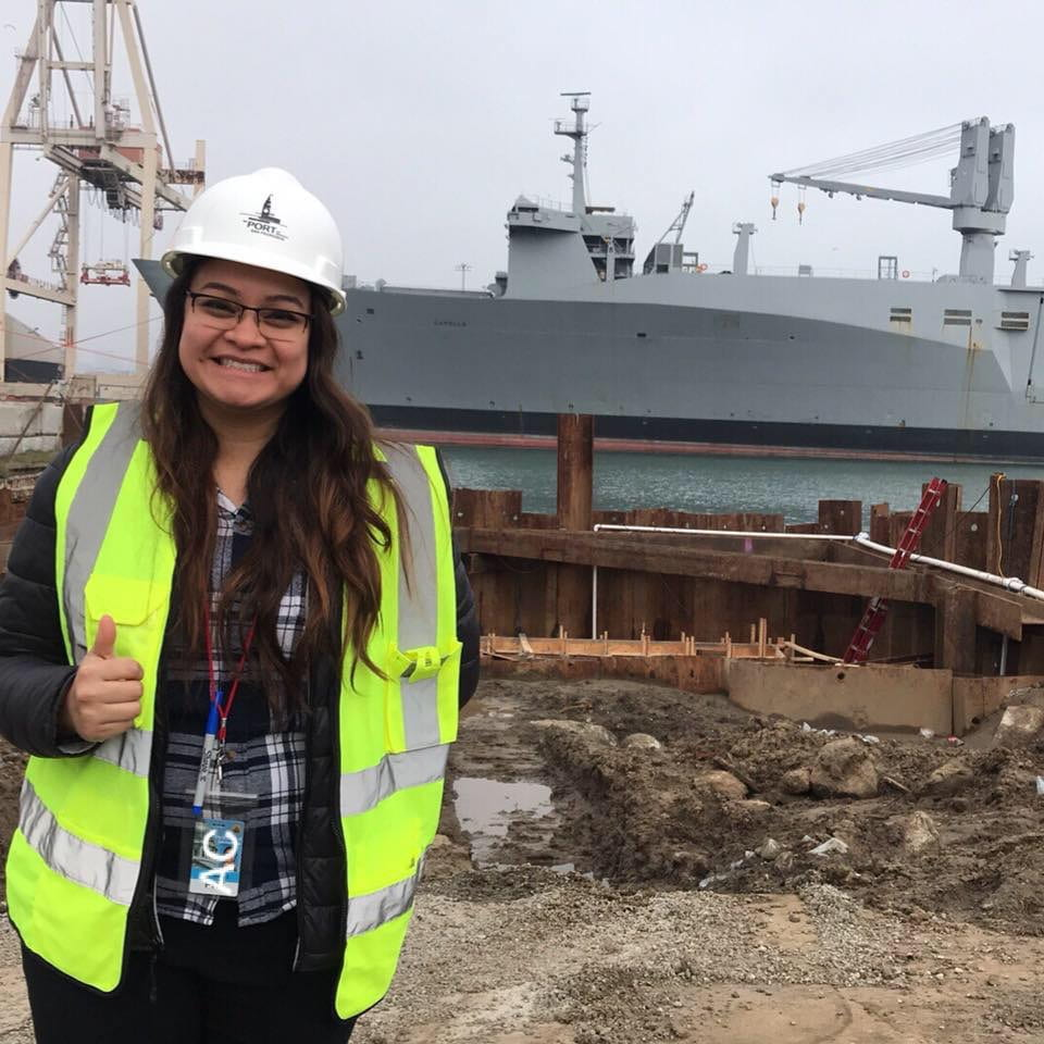 Andrea Coto poses at a project at the Port of San Francisco in 2019.