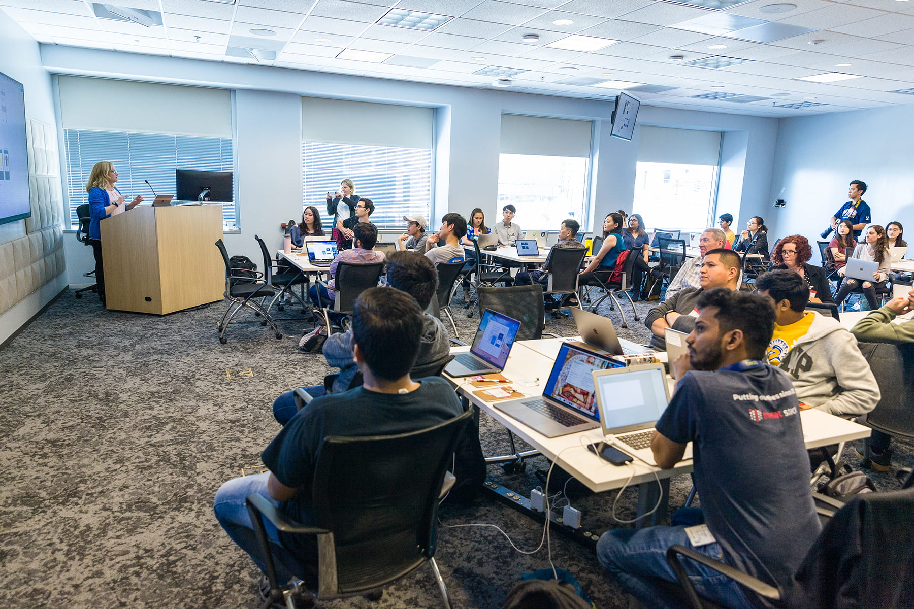 Donna Caldwell, a senior solutions consultant, leads the Adobe XD bootcamp for students who competed in the Adobe Creative Jam April 18, 2019. Photo by Robert C. Bain