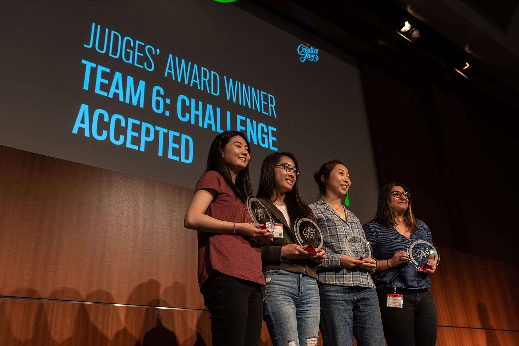 A team of SJSU students received the Judges' Award at the 2019 Adobe Creative Jam April 18 for designing a prototype of an app to help people digitally detox. Photo by Nathaniel Agot