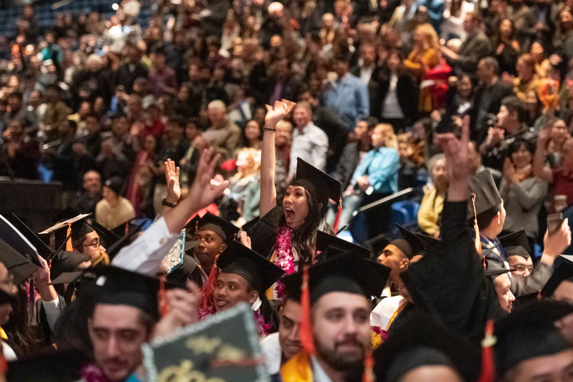 College of Engineering students cheer during commencement in fall 2019. Photo courtesy of Best Grad.