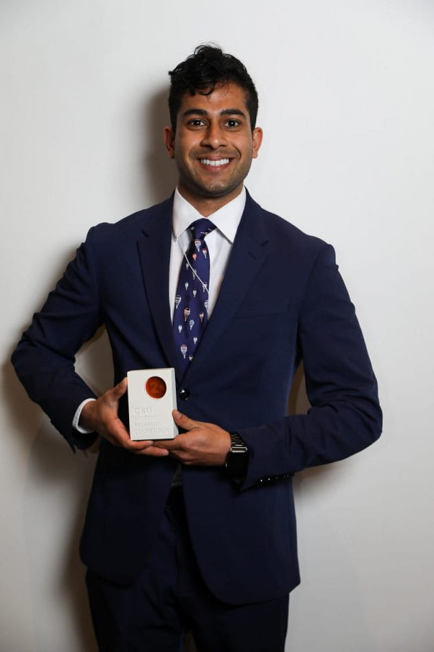 Sambhav Gupta placed second in the CSU Student Research Competition. Photo courtesy of Jordan Kubat 2019