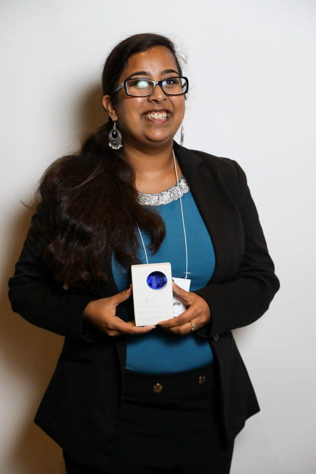 Vanshika Gupta placed first in her category at the CSU Student Research Competition. Photo courtesy of Jordan Kubat 2019