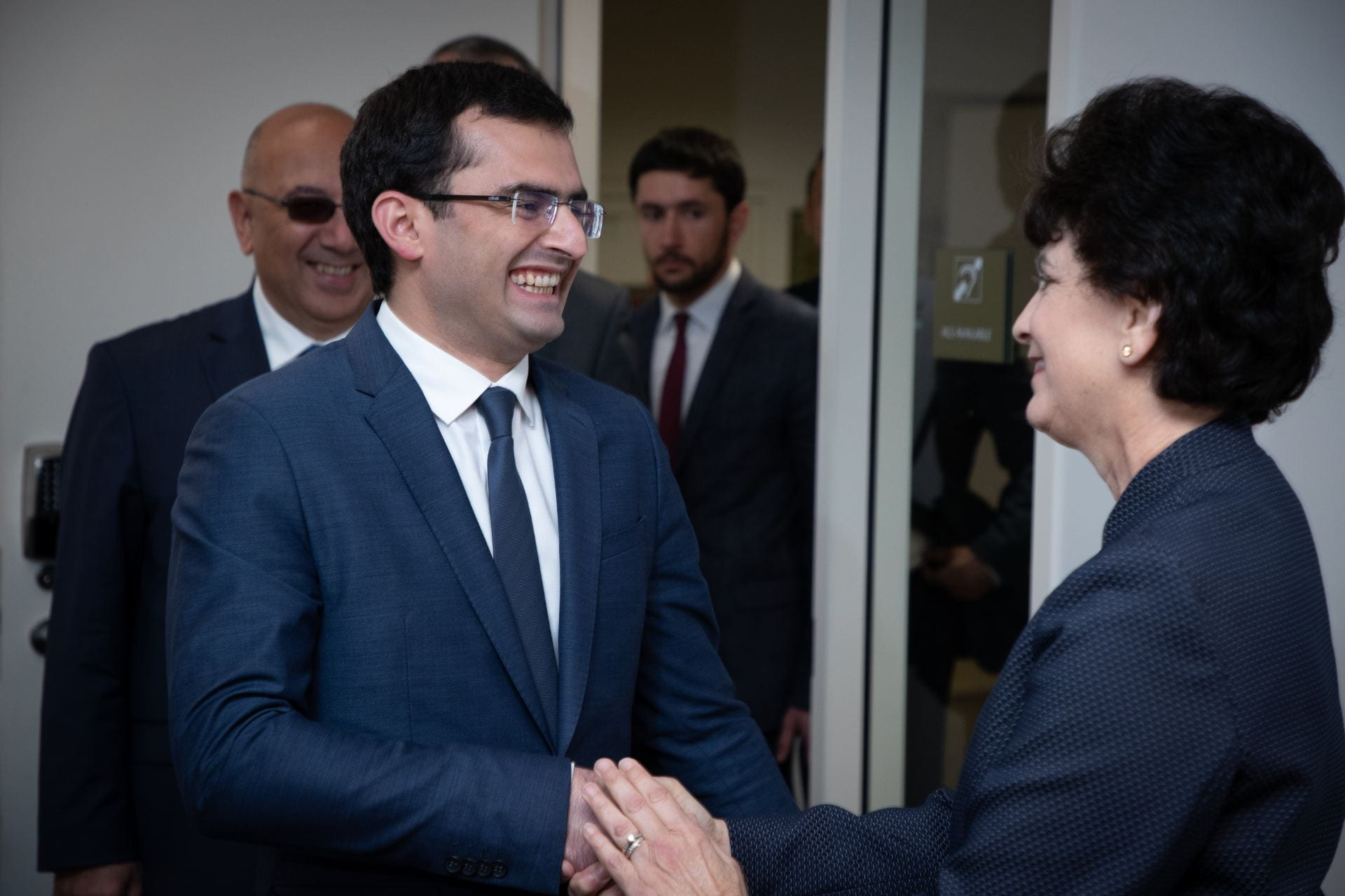 Mary Papazian, San JoseŽ State University President, greets Hakob Arshakyan, Armenia minister of high-technological industries, as she meets with local and Armenian tech leaders on campus May 29, 2019. (Photo: Jim Gensheimer)