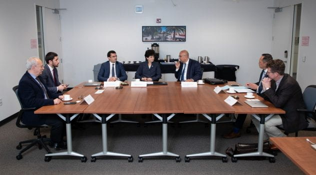 SJSU administrators and Silicon Valley technology leaders met with a delegation from Armenia that included government and university officials, and Armenian tech leaders on campus May 29, 2019. (Photo: Jim Gensheimer)