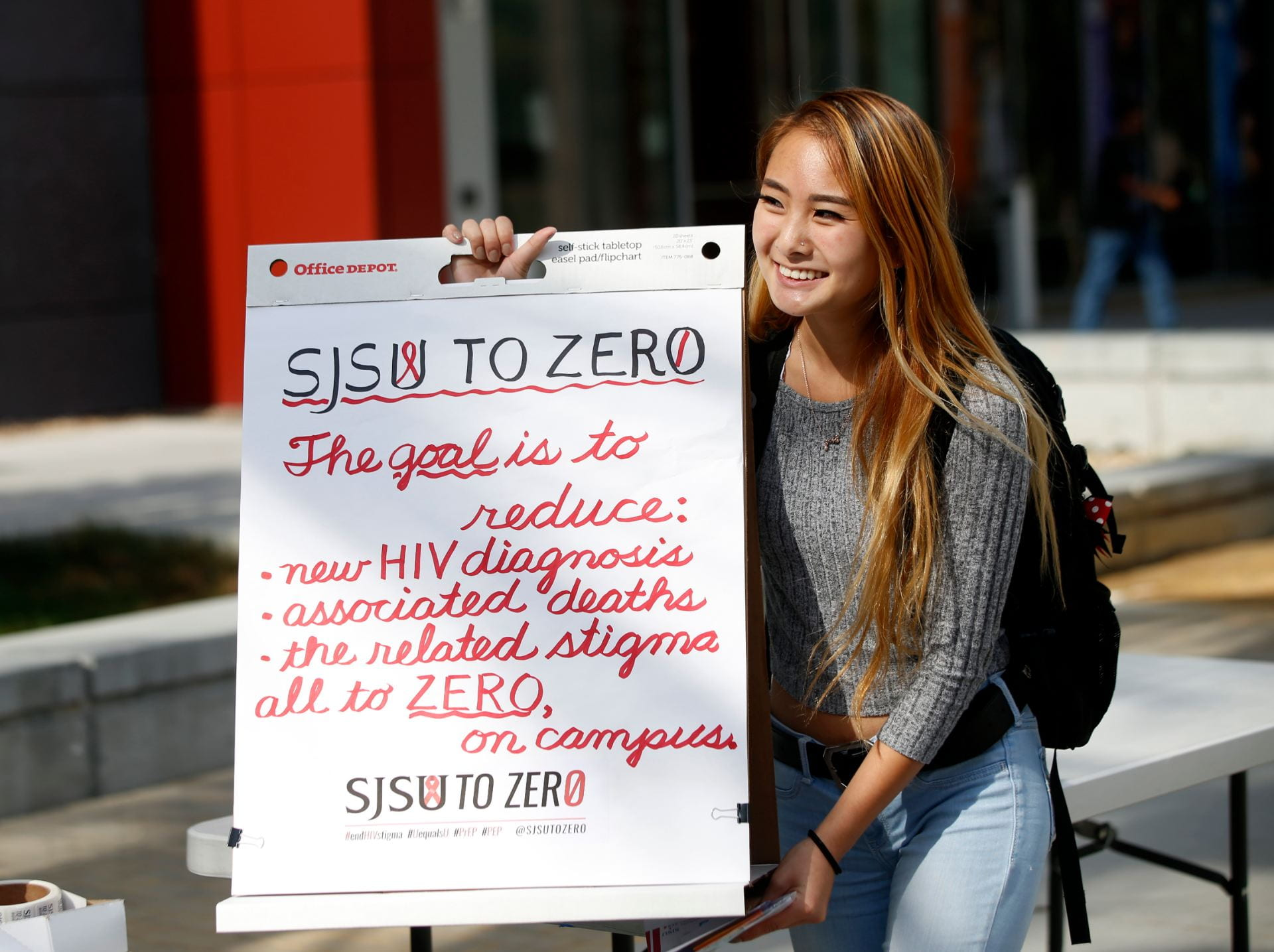 Peer health educators promoted SJSU to Zero during the College of Health and Human Sciences Health and Wellness Week in 2018. ( Josie Lepe/San Jose State University )