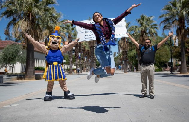 Azusena Reyes shows her excitement after receiving the San Jose Earthquakes East Side Promise Scholarship during freshman orientation at San Jose State University on Tuesday, July 16, 2019. (Photo: Jim Gensheimer)