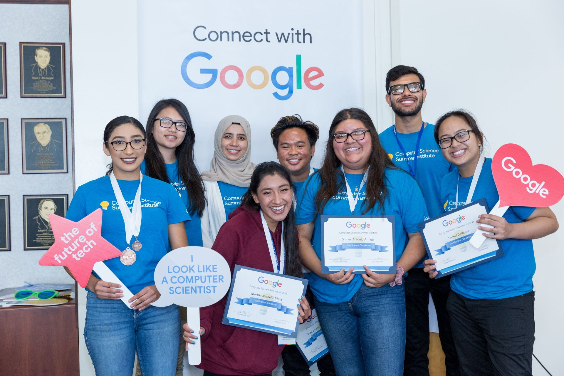 SJSU students and educators celebrate on the last day of Google's Computer Science Summer Institute Extension Program. Photo by David Schmitz