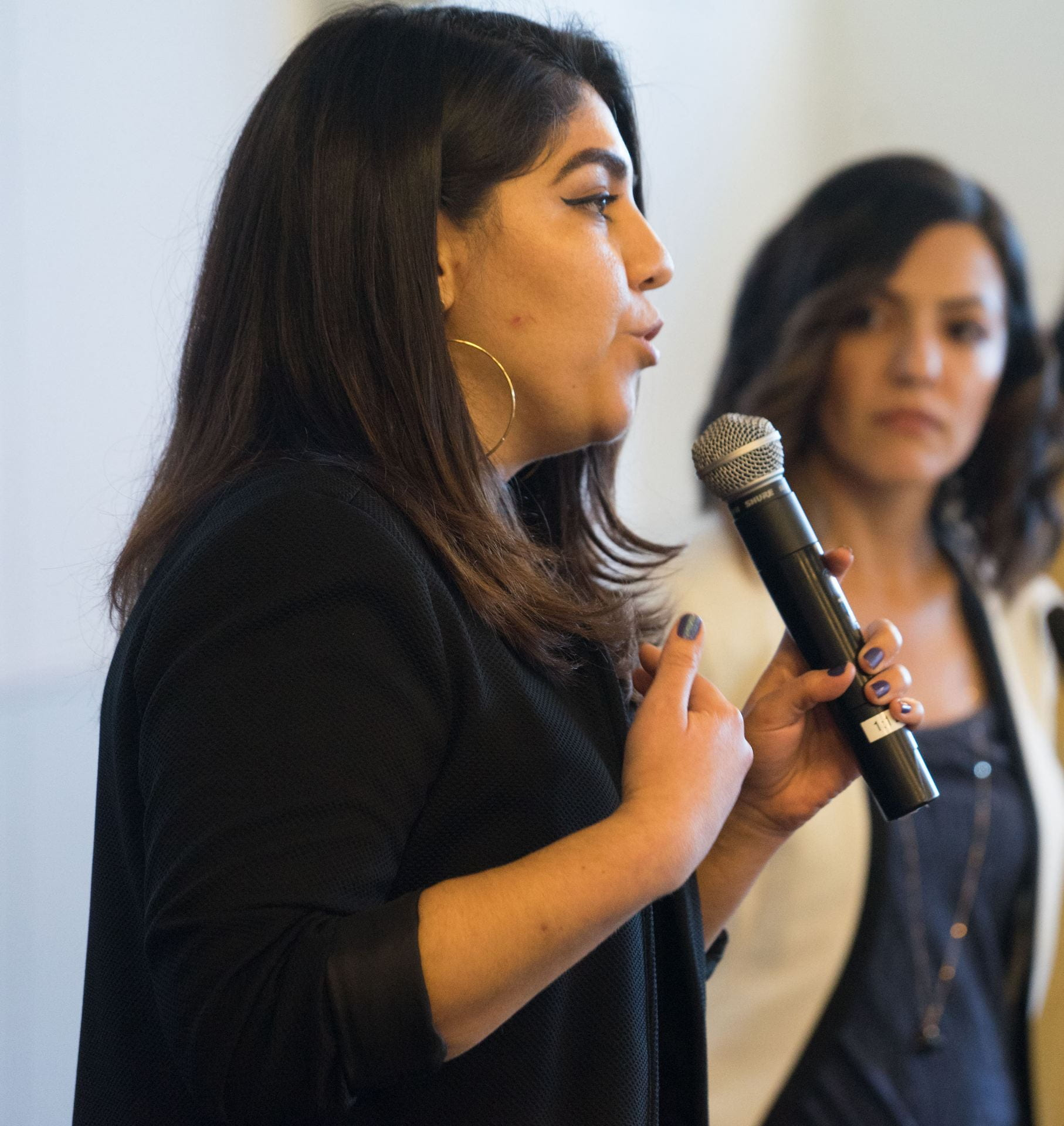 Ana Navarrete Avina, the program coordinator of the UndocuSpartan Resource Center, speaks at an opening celebration for the center that was established in 2018. (Photo: James Tensuan, '15 Journalism)