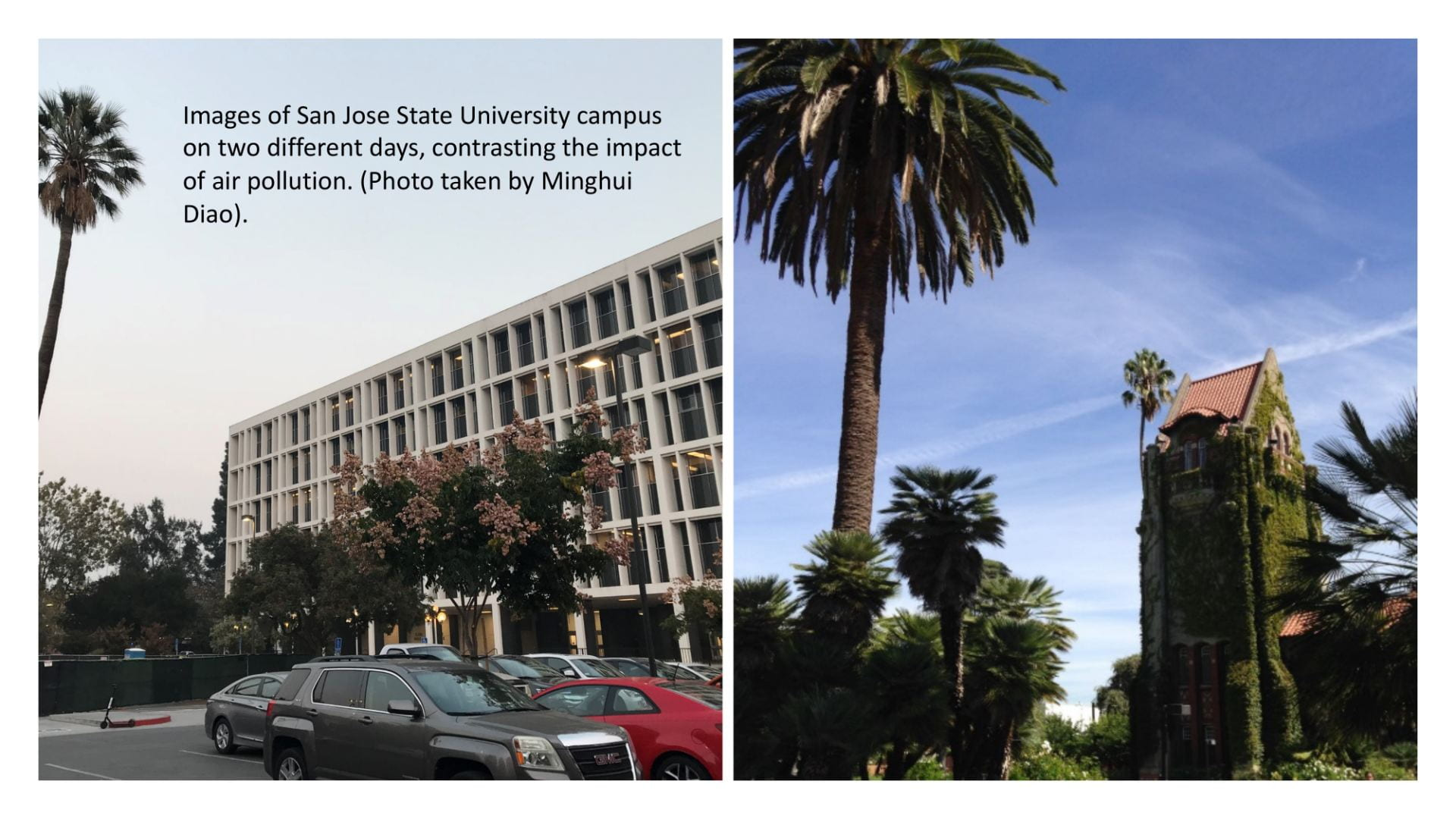 Two photos compare the way the sky near campus looks on a day with low air pollution vs. a day with high air pollution.