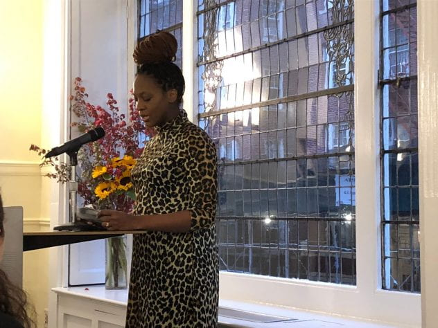 Selena Anderson reads from her recent work at NYU after receiving a 2019 Rona Jaffe Foundation Writer's Award. Photo by Star Black