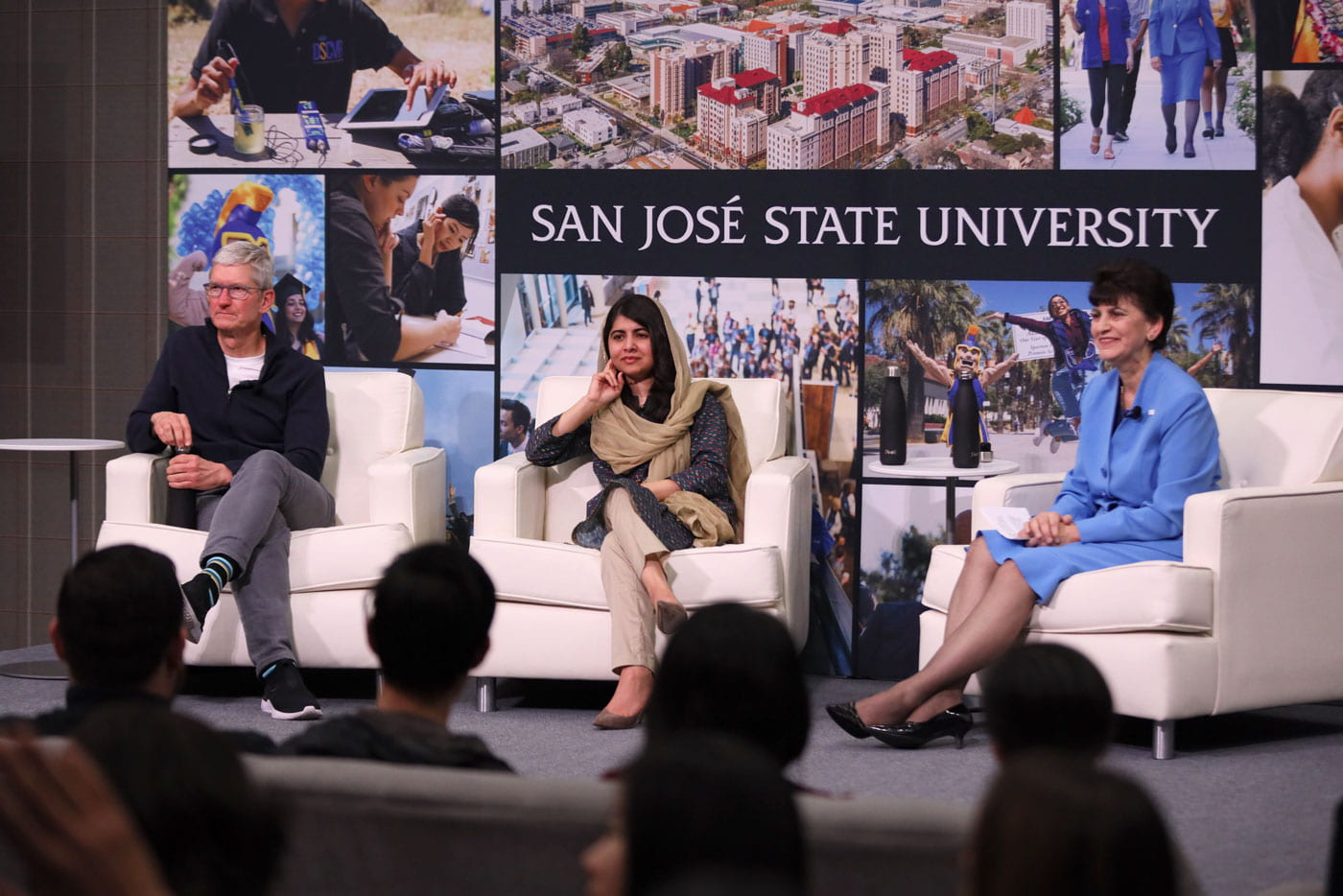 Tim Cook, Malala Yousafzai and Mary Papazian