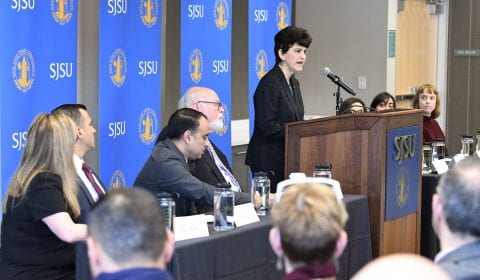 Mary Papazian speaks at Jan. 27 press conference.