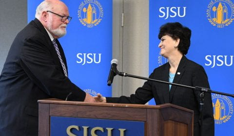 Senator Jim Beall and SJSU President Mary Papazian
