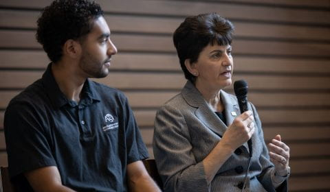 "President Papazian and AS President Branden Parent talk to students at a ""Pizza with the President"" event."