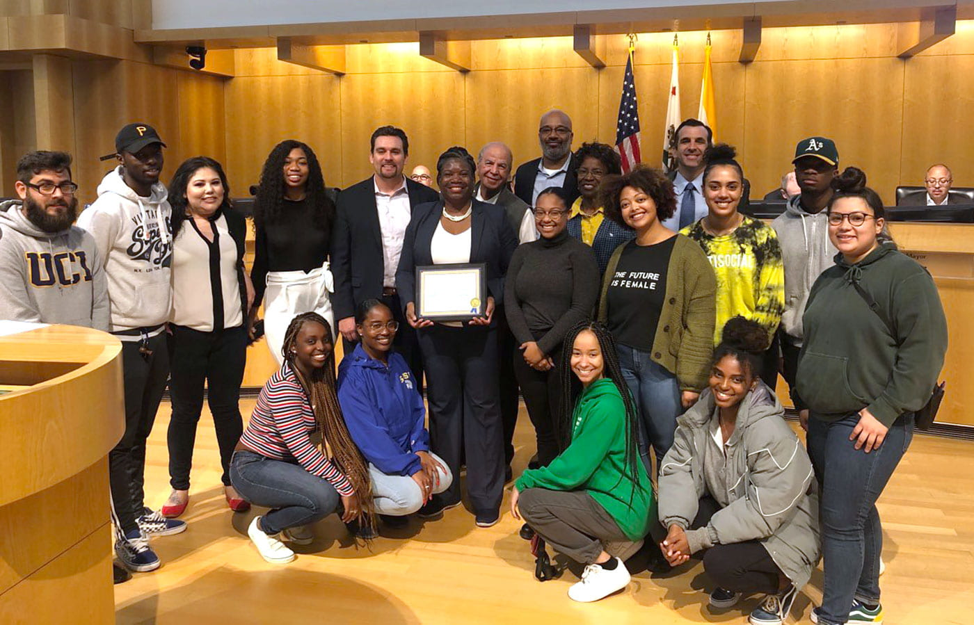 Members of SJSU's Department of African-American Studies pose with San Jose Mayor Sam Liccardo at San Jose City Hall.