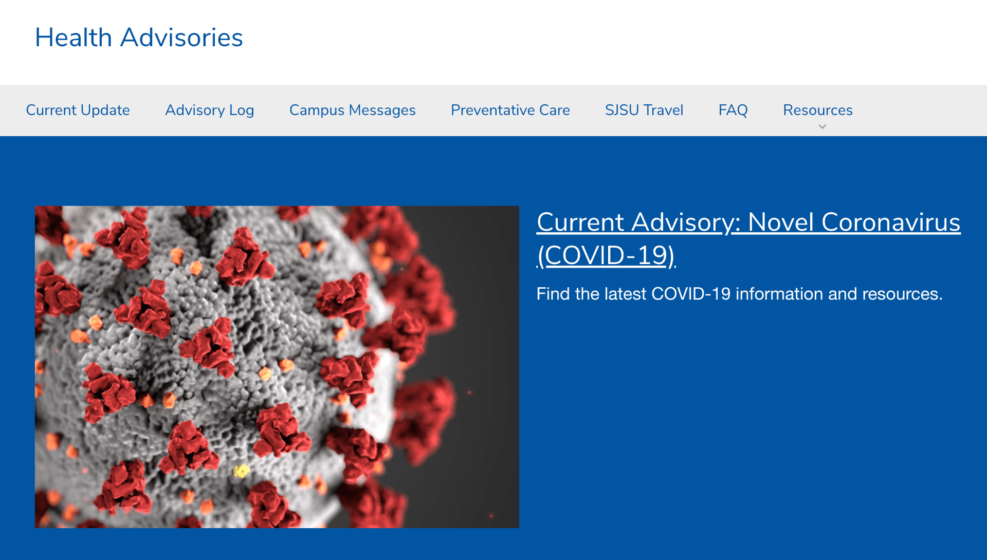 Homepage of the Health Advisories website.