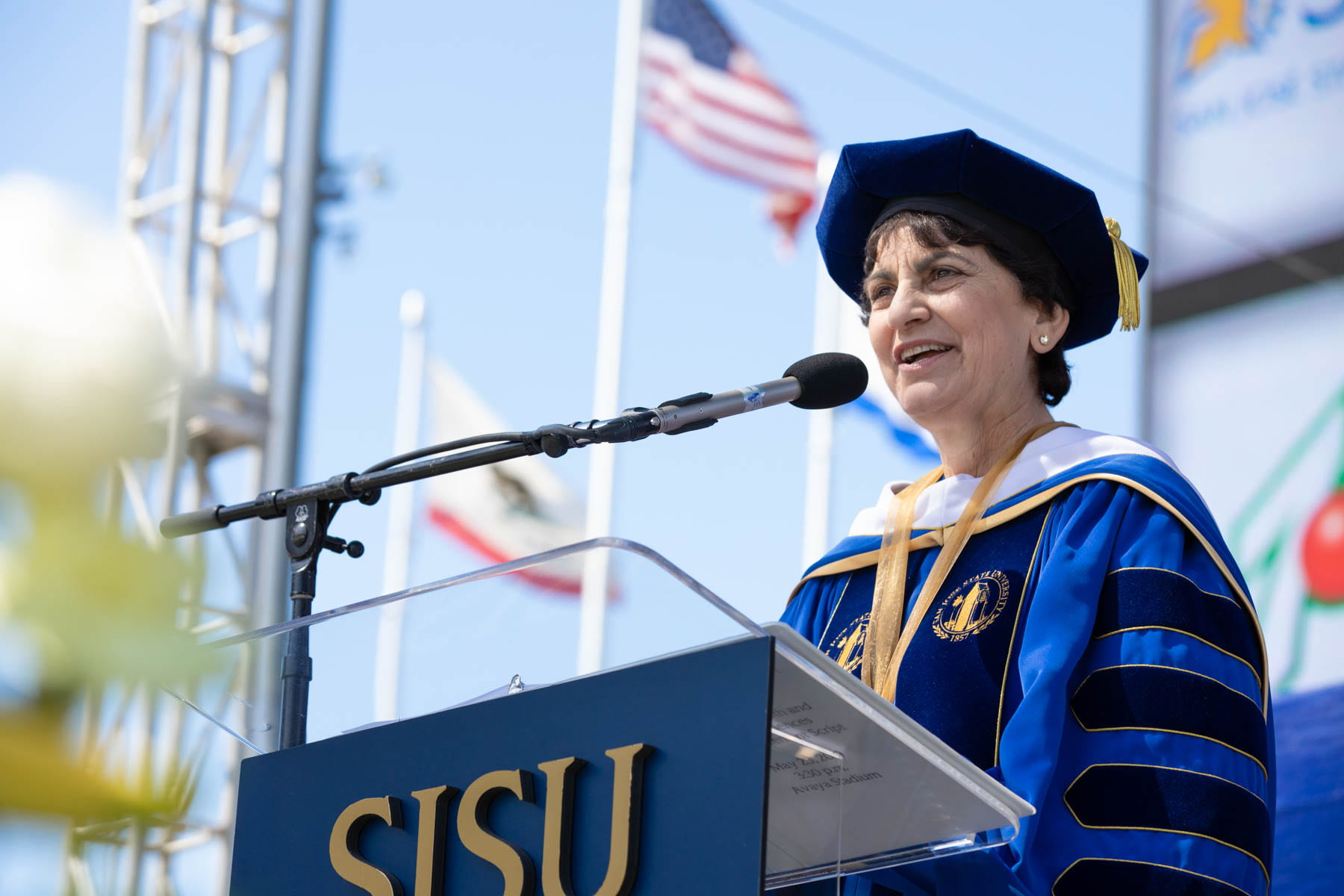President Mary A. Papazian speaks at a SJSU commencement ceremony
