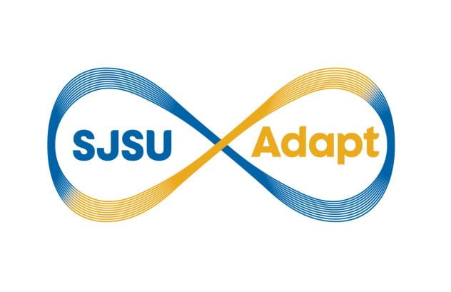 The SJSU Adapt logo, an infinity symbol with blue and gold colors