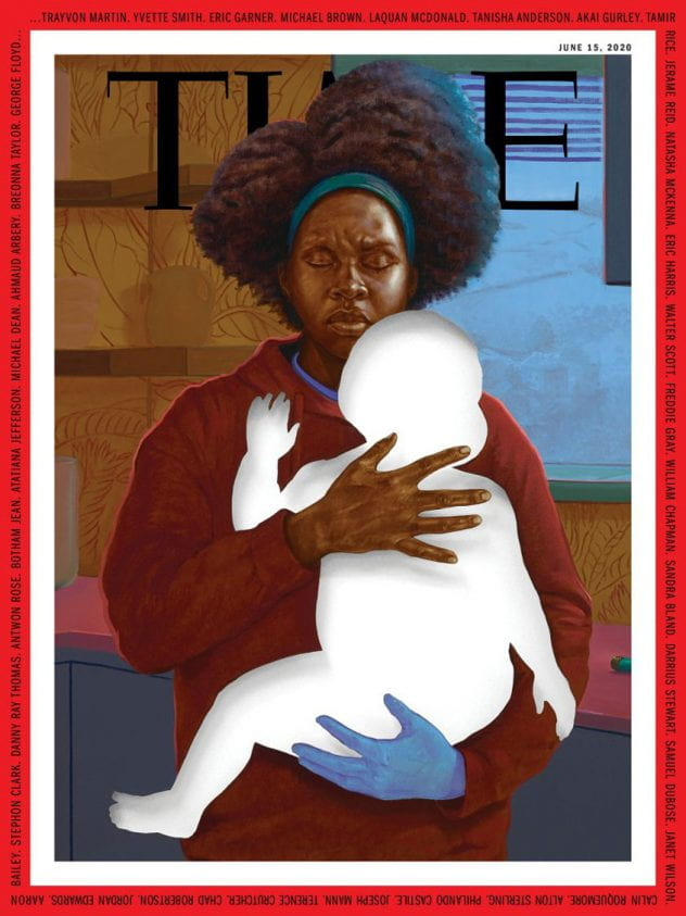 A Black mother with her eyes closed and eyebrows furrowed, holds a white cut out of her baby. Her hand below the baby is blue.