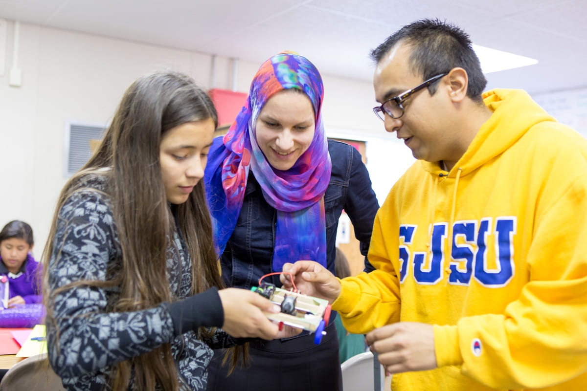 SJSU community members participating in STEM education program.