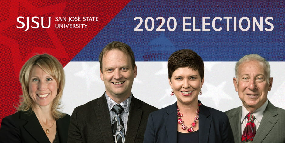 "Four political science professors are lined up on top of a red, white and blue graphic with the SJSU logo and title ""2020 Elections."""