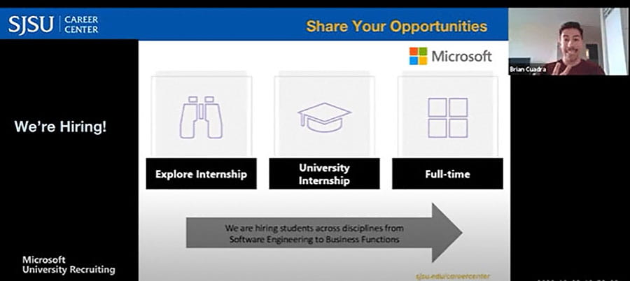 Screenshot of the SJSU Career Center webinar showing a slide that says We're Hiring! with three cards that say Explore Internship, University Internship, and Full-Time.