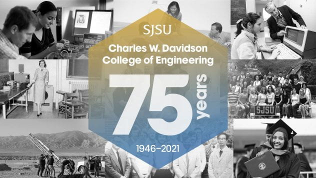 Collage of the College of Engineering with a 75th Anniversary badge