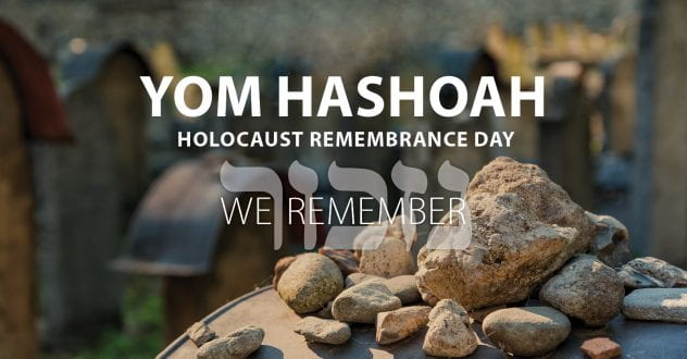 Graphic that reads Yom Hashoab: Holocaust Remembrance Day