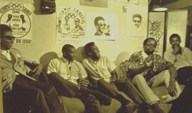From left to right: Ken Noel, Tommie Smith, Lee Evans, Harry Edwards, San José State student body president James Edwards.