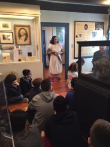 Museum director Maria Cardenas tells SOMS seventh-graders about Orangetown Loyalists