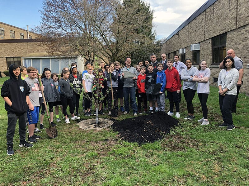 NYS Senator Carlucci Donates Apple Tree to SOMS Courtyard