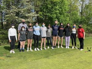 TZ Girls Varsity Golf team and Coach Laskow