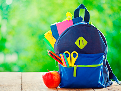 Child's backpack with apple