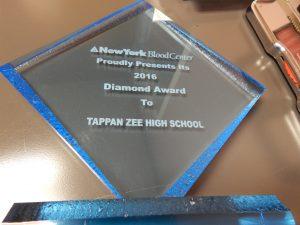 NY Blood Center Diamond Award given to Tappan Zee High School