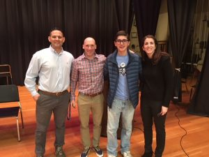 From left, social studies teachers James Amandola, Chip Foley, geography bee winner Matt T. and teacher Sarah Kukla