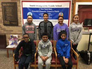 SOMS students who received the Annual Black Achievement Award in SOMS lobby